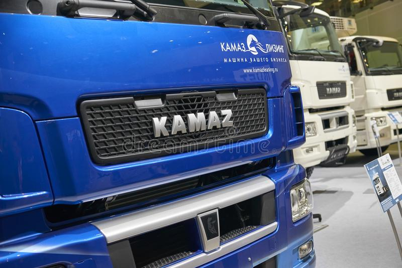 MOSCOW, SEP, 5, 2017: Russian truck KAMAZ logo on engine hood. Famous Kamaz trucks. Car exhibits on Commercial Transport Exhibitio. N ComTrans-2017. Commercial stock images