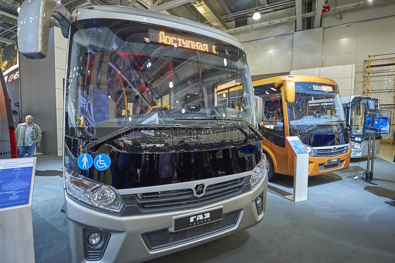 MOSCOW, SEP, 5, 2017: View on Russian white vehicle passenger electro bus KAMAZ exhibit on Commercial Transport Exhibition ComTran. S 2017 City electro bus royalty free stock photos