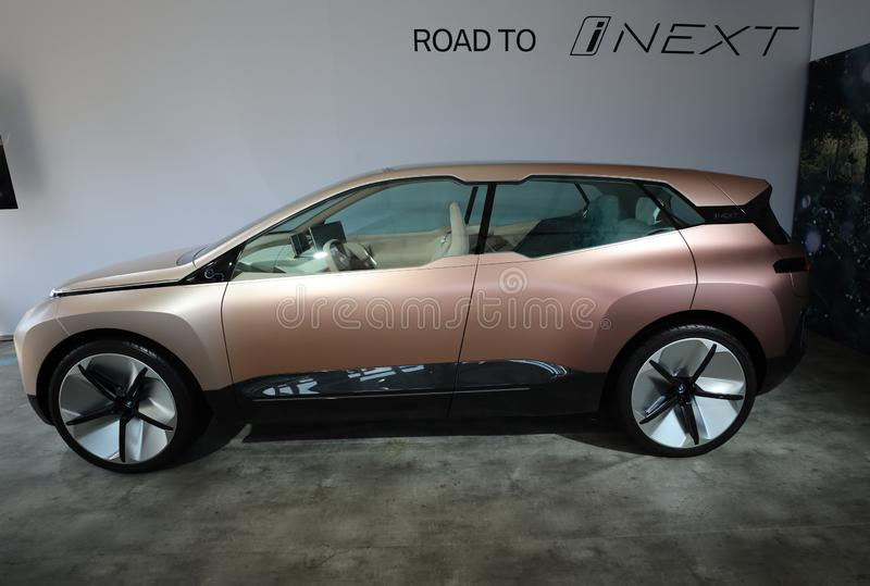 The BMW Vision iNEXT electric crossover car on display during 2019 New York City E-Prix. NEW YORK - JULY 14, 2019: The BMW Vision iNEXT electric crossover car on royalty free stock image