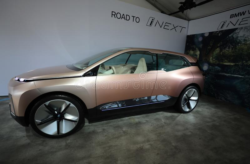The BMW Vision iNEXT electric crossover car on display during 2019 New York City E-Prix. NEW YORK - JULY 14, 2019: The BMW Vision iNEXT electric crossover car on stock photos