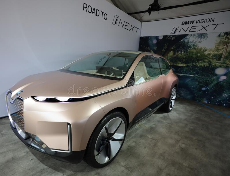 The BMW Vision iNEXT electric crossover car on display during 2019 New York City E-Prix. NEW YORK - JULY 14, 2019: The BMW Vision iNEXT electric crossover car on stock photo