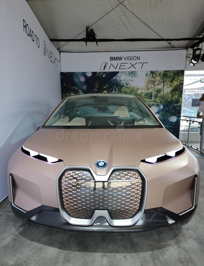 The BMW Vision iNEXT electric crossover car on display during 2019 New York City E-Prix. NEW YORK - JULY 14, 2019: The BMW Vision iNEXT electric crossover car on royalty free stock photo