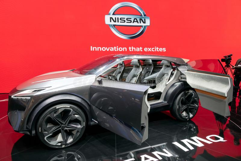 Nissan IMQ hybrid crossover concept car debut. GENEVA, SWITZERLAND - MARCH 6, 2019: Nissan IMQ hybrid crossover concept car debut showcased at the 89th Geneva stock photography