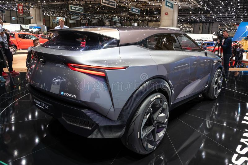 Nissan IMQ hybrid crossover concept car debut. GENEVA, SWITZERLAND - MARCH 6, 2019: Nissan IMQ hybrid crossover concept car debut showcased at the 89th Geneva royalty free stock photo