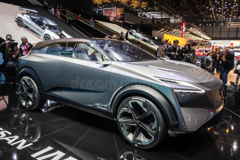 Nissan IMQ hybrid crossover concept car debut. GENEVA, SWITZERLAND - MARCH 6, 2019: Nissan IMQ hybrid crossover concept car debut showcased at the 89th Geneva royalty free stock photography