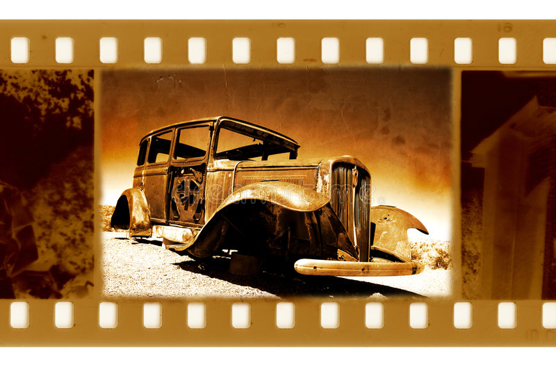 Old 35mm frame photo with retro Ford car. The old 35mm frame photo with retro Ford car stock image