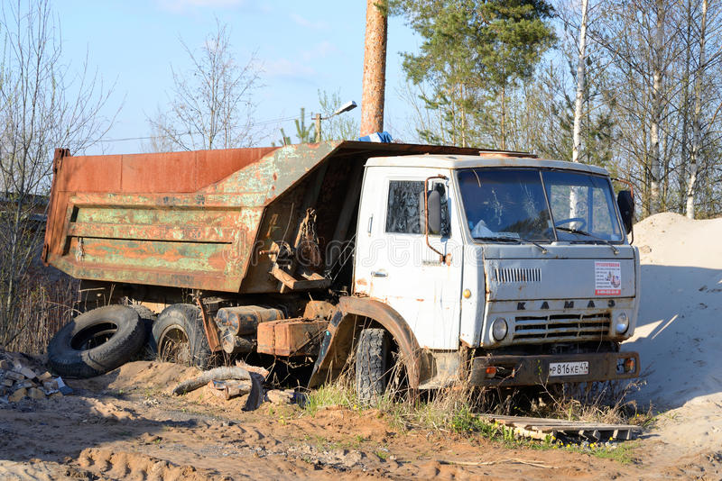 Old broken truck KAMAZ. ULYANOVKA, RUSSIA - 1 MAY 2016: Old broken truck KAMAZ - tipper, produced the Kama Automobile Plant. Intended for transportation of bulk royalty free stock images