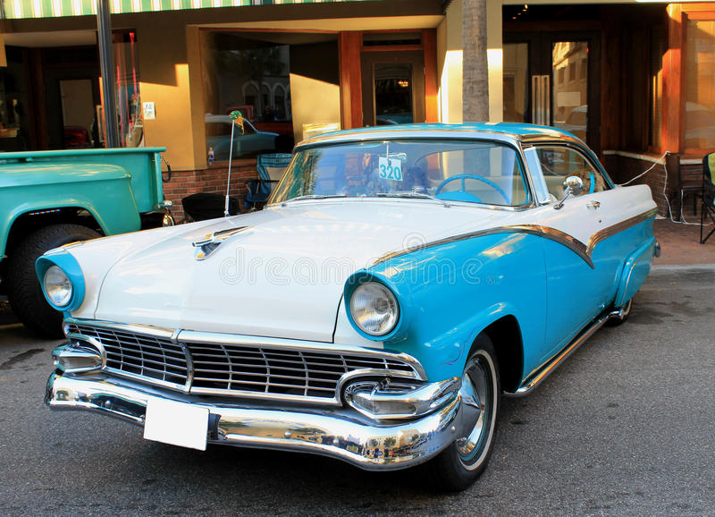 Old Ford Fairlane Car. The old Ford Fairlane car on the street stock images