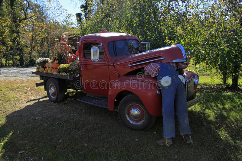 Old Ford truck in Hendersonville. NC decorated up for fall stock image