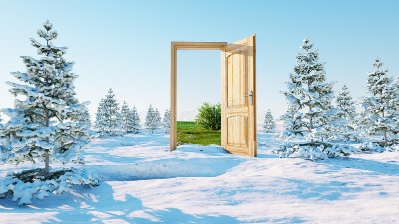 Opened door. A portal winter to summer, Change of seasons concept. Transition. 3d rendering. royalty free illustration