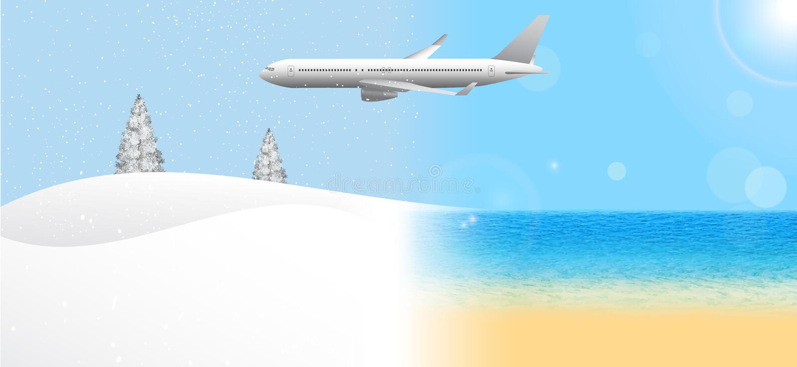 Passenger airplane flying from summer to winter vector illustration
