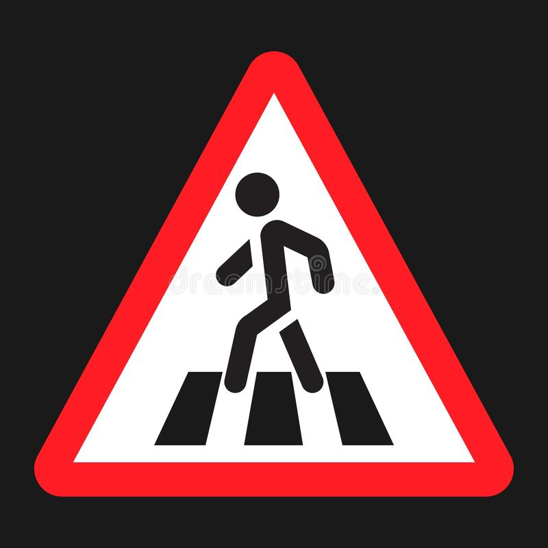 Pedestrian crossing and crosswalk sign flat icon. Traffic and road sign, vector graphics, a solid pattern on a black background, eps 10 stock illustration