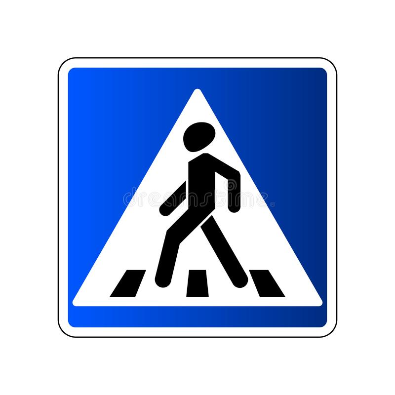 Pedestrian crossing sign. Traffic road blue sign isolated on white background. Warning people street safety icon. Pedestrian crossing. Vector illustration vector illustration