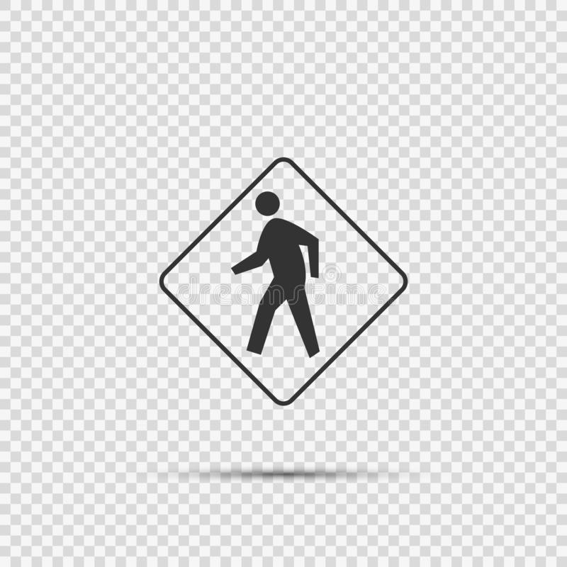 Pedestrian Crossing Sign on transparent background. Pedestrian Crossing Signs on transparent background stock illustration