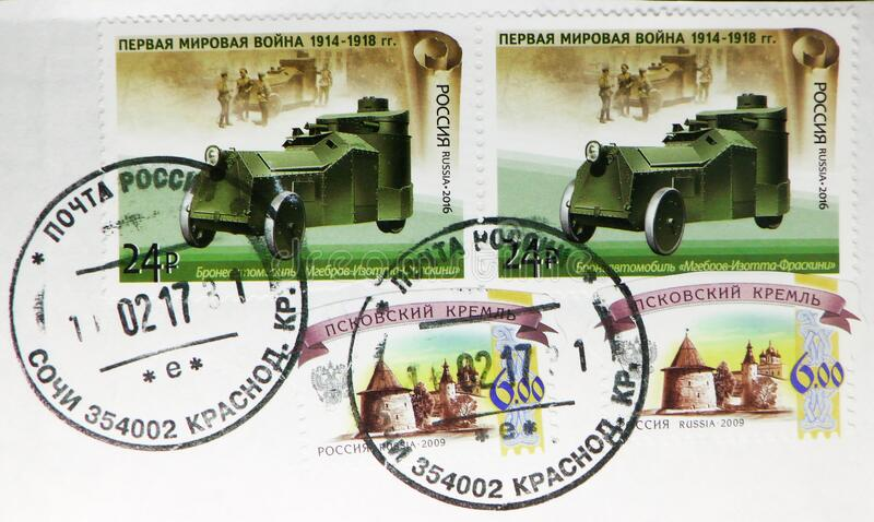 Postage stamps printed in Russia with stamp of Sochi shows Armored Car `Mgebrov Isotta-Fraschini`, History of the First World War. MOSCOW, RUSSIA - MARCH 11 stock photography