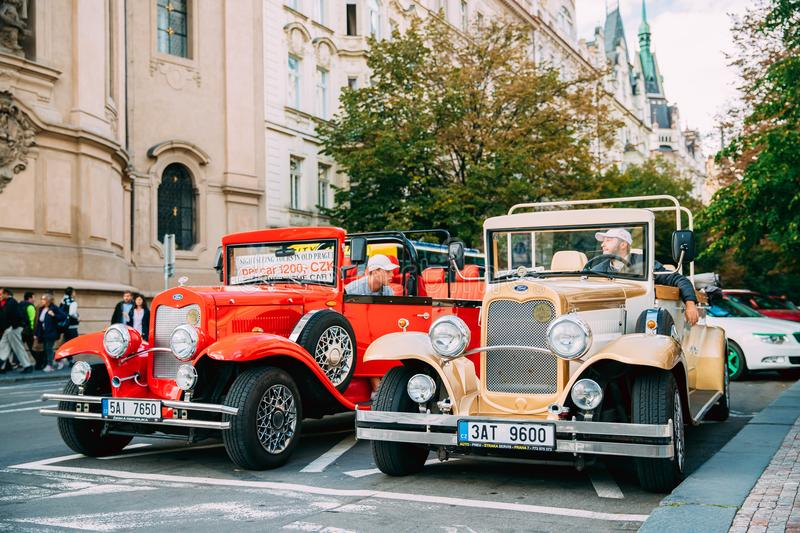 Prague, Czech Republic. View Of Parking Retro Old Vintage Cars Ford With Drivers For Riding Tourists. Prague, Czech Republic - September 22, 2017: View Of stock photography