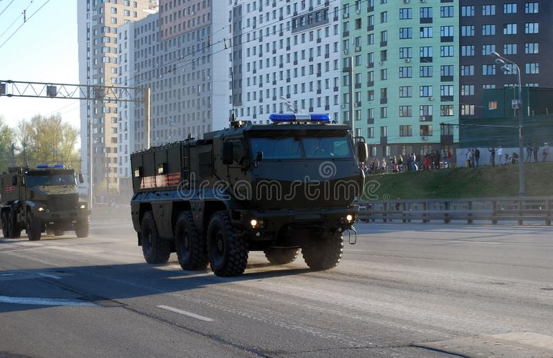 The Russian multiple-purpose armored car of the increased security of `Tayfun-K`, it is KAMAZ-63968. Moscow. Russia. May 3, 2017. Rehearsal to Victory Day royalty free stock image