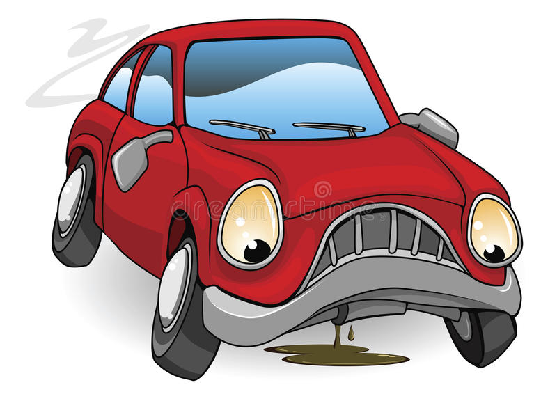 Sad broken down cartoon car. An illustration of a sad broken down red cartoon car royalty free illustration