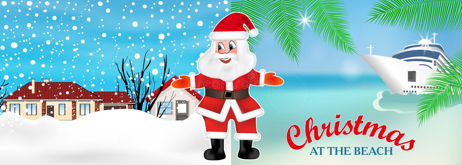 Santa Claus invites from winter to summer to celebrate Christmas on the beach. New Year cruis. Vector royalty free illustration