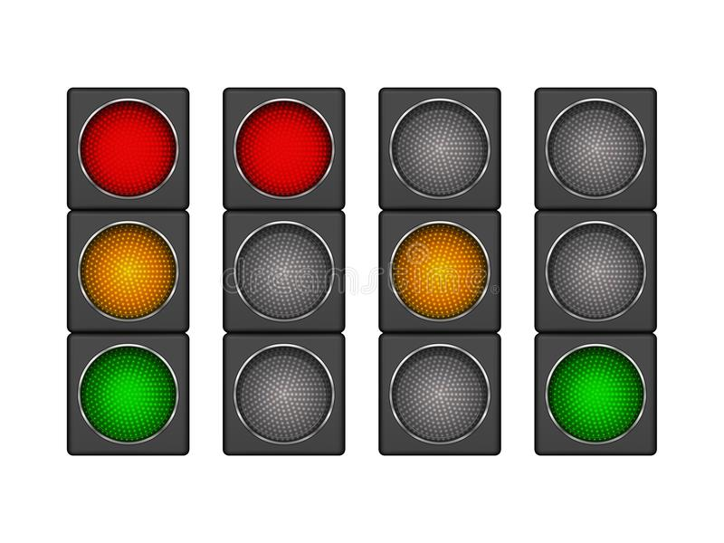 Set of 4 modern led traffic light with different sequence of switching-on red, yellow, green lights. vector illustration