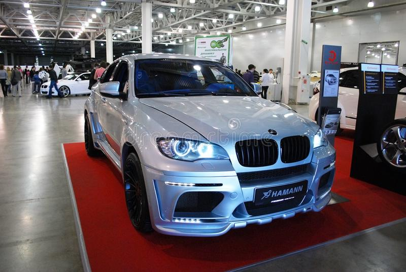 The sports crossover of a premium class of BMW X6 M E71 in `Crocus Expo`, 2012. Moscow. Russia stock image