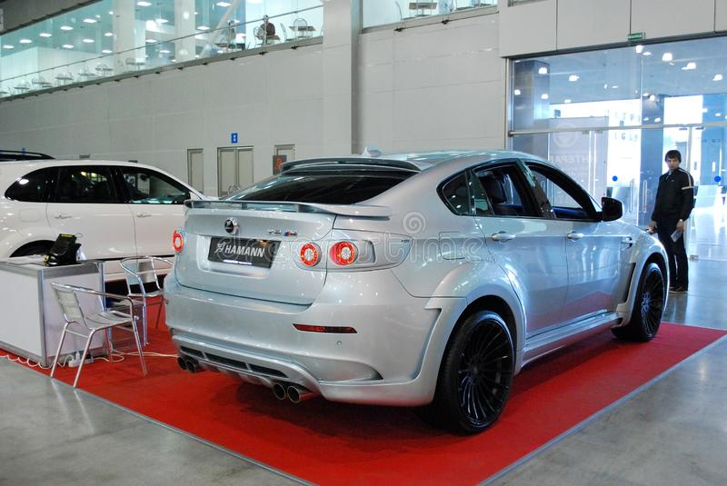 The sports crossover of a premium class of BMW X6 M E71 in `Crocus Expo`, 2012. Moscow. Russia stock photo