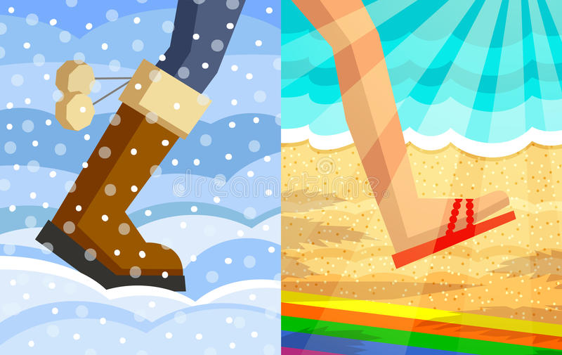 Step from winter to summer royalty free illustration