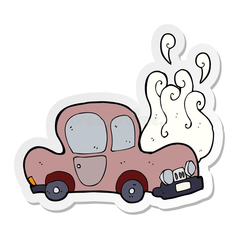 Sticker of a broken down car cartoon. A creative illustrated sticker of a broken down car cartoon stock illustration