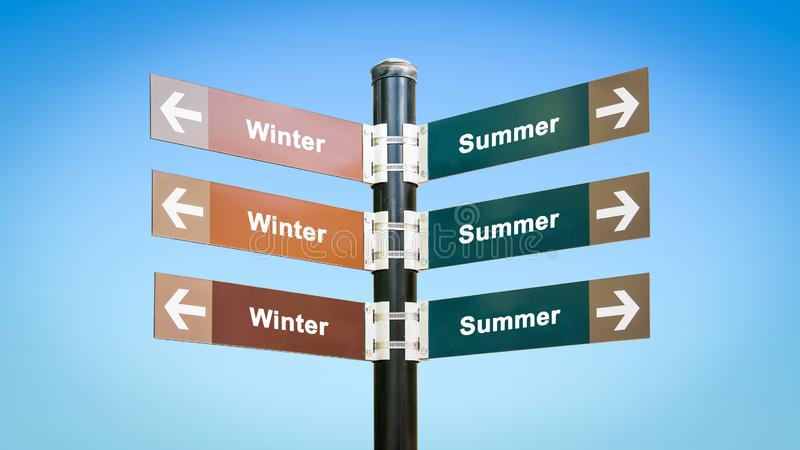 Street Sign to Summer versus Winter vector illustration