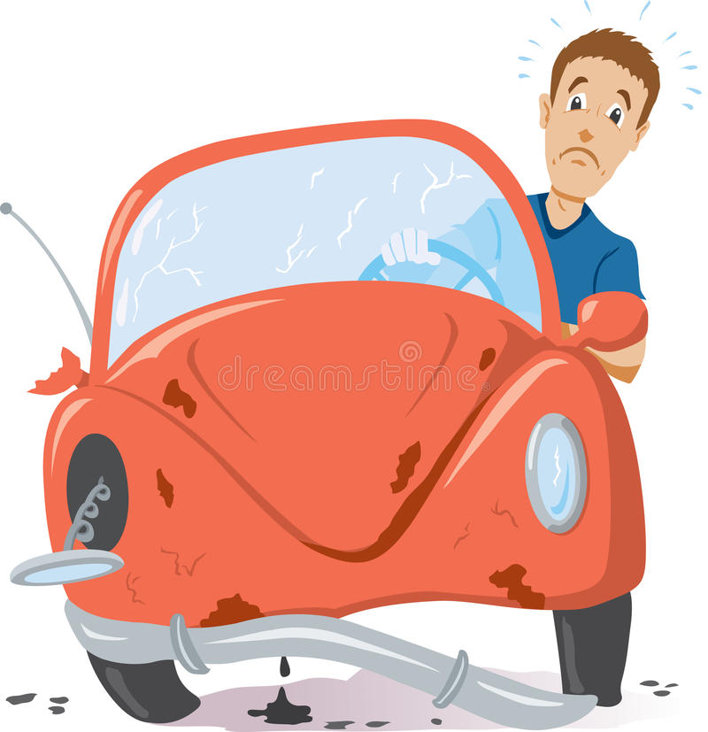 Time for a new car. Picture of a broken down car or one that was in a accident vector illustration