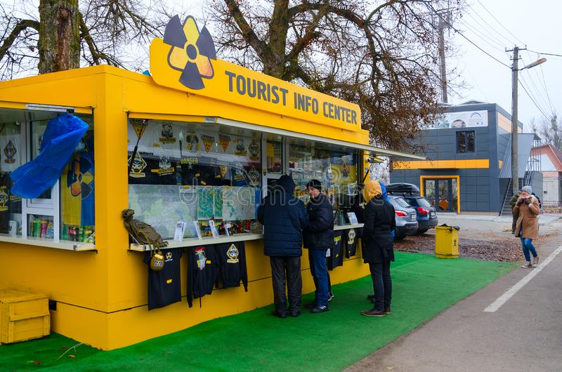 Tourist information center and souvenir shop in front of checkpoint Dityatki in Chernobyl NPP alienation zone, Ukraine stock images