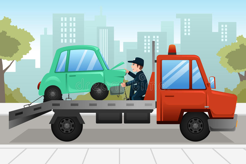 Tow truck towing a broken down car. A vector illustration of tow truck towing a broken down car stock illustration