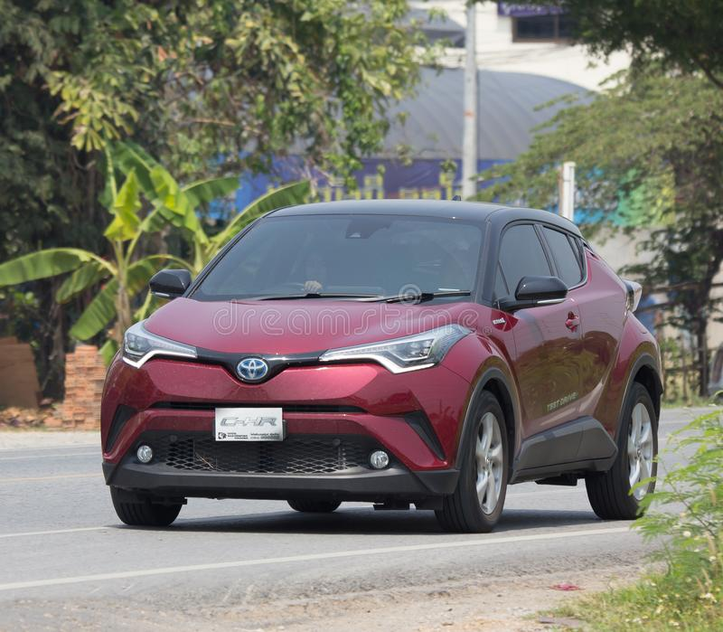 Toyota CHR Subcompact Crossover SUV Hybrid Car. CHIANG MAI, THAILAND - APRIL 20 2018: New Toyota CHR Subcompact Crossover SUV Hybrid Car. Car on road No.121 to royalty free stock photography