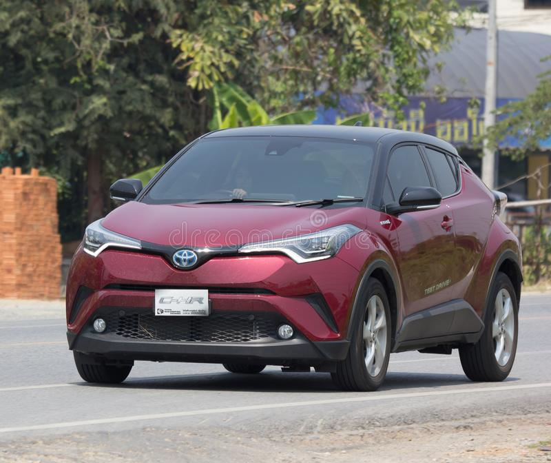 Toyota CHR Subcompact Crossover SUV Hybrid Car. CHIANG MAI, THAILAND - APRIL 20 2018: New Toyota CHR Subcompact Crossover SUV Hybrid Car. Car on road No.121 to royalty free stock images