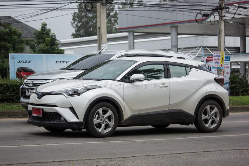 Toyota CHR Subcompact Crossover SUV Hybrid Car. CHIANG MAI, THAILAND - JUNE 17 2018: New Toyota CHR Subcompact Crossover SUV Hybrid Car. Car on road No.121 to royalty free stock image