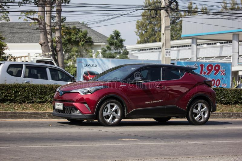 Toyota CHR Subcompact Crossover SUV Hybrid Car. Chiangmai, Thailand - December 4 2018: New Toyota CHR Subcompact Crossover SUV Hybrid Car. Car on road No.121 to royalty free stock image