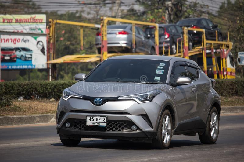 Toyota CHR Subcompact Crossover SUV Hybrid Car. Chiangmai, Thailand - February 25 2019: New Toyota CHR Subcompact Crossover SUV Hybrid Car. Car on road No.121 to royalty free stock photos