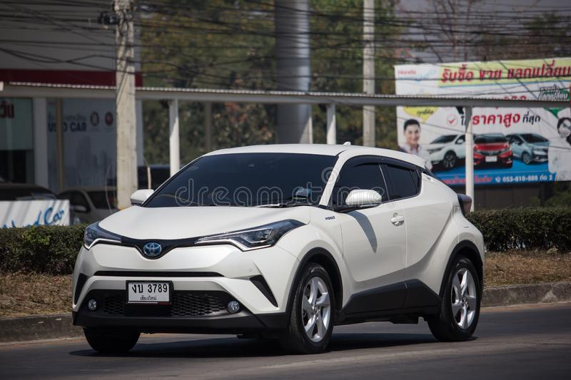 Toyota CHR Subcompact Crossover SUV Hybrid Car. Chiangmai, Thailand - February 25 2019: New Toyota CHR Subcompact Crossover SUV Hybrid Car. Car on road No.121 to stock image