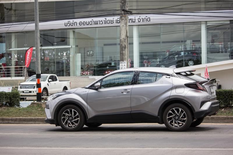 Toyota CHR Subcompact Crossover SUV Hybrid Car. Chiangmai, Thailand - June 13 2019:  New Toyota CHR Subcompact Crossover SUV Hybrid Car. Car on road No.121 to royalty free stock image