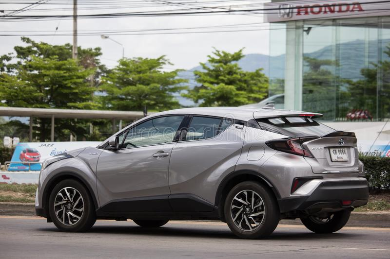 Toyota CHR Subcompact Crossover SUV Hybrid Car. Chiangmai, Thailand - June 13 2019:  New Toyota CHR Subcompact Crossover SUV Hybrid Car. Car on road No.121 to royalty free stock photography