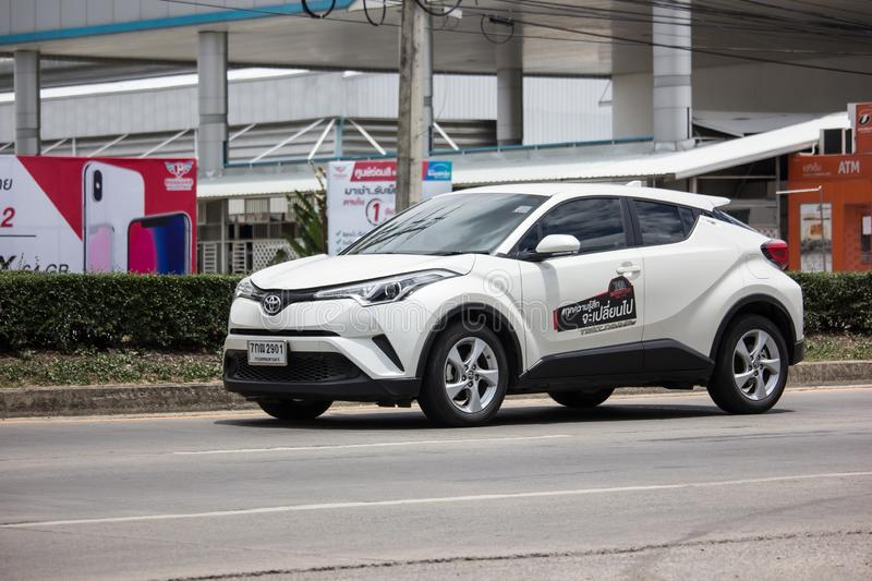 Toyota CHR Subcompact Crossover SUV Hybrid Car. Chiangmai, Thailand - June 13 2019:  New Toyota CHR Subcompact Crossover SUV Hybrid Car. Car on road No.121 to royalty free stock photos