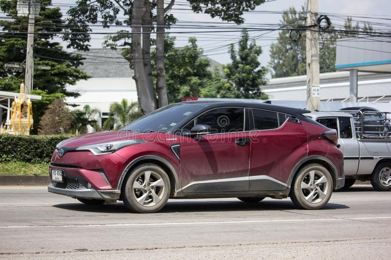 Toyota CHR Subcompact Crossover SUV Hybrid Car. Chiangmai, Thailand -  October 1 2019: Red New Toyota CHR Subcompact Crossover SUV Hybrid Car. Car on road No.121 royalty free stock image