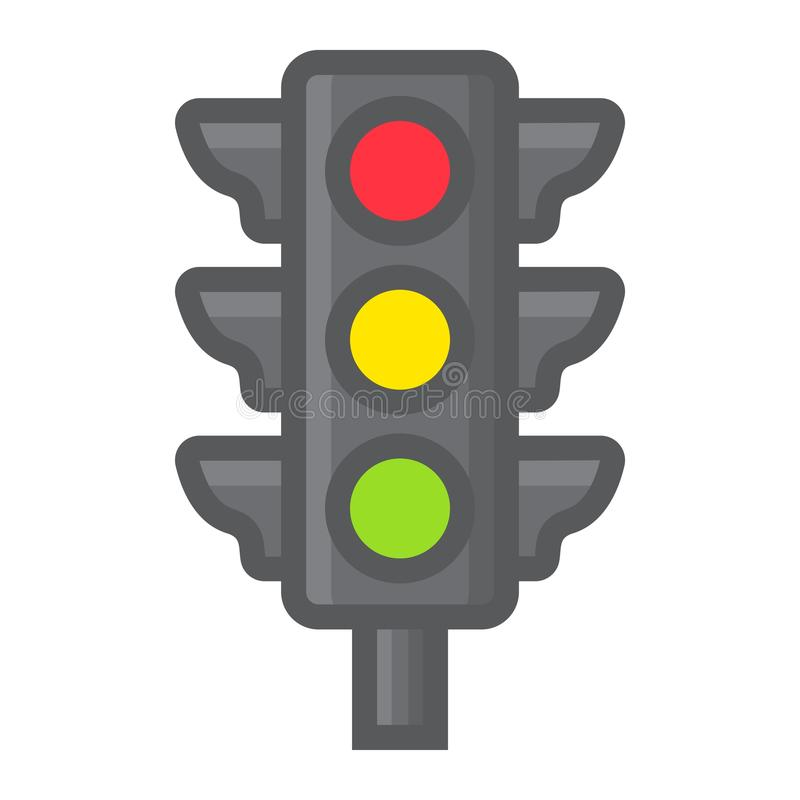 Traffic light filled outline icon, stoplight royalty free illustration