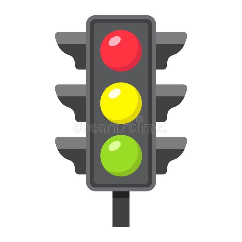 Traffic light flat icon, stoplight and navigation royalty free illustration
