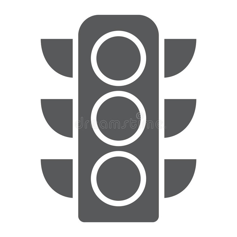 Traffic light glyph icon, regulation and traffic, stoplight sign, vector graphics, a solid pattern on a white background stock illustration