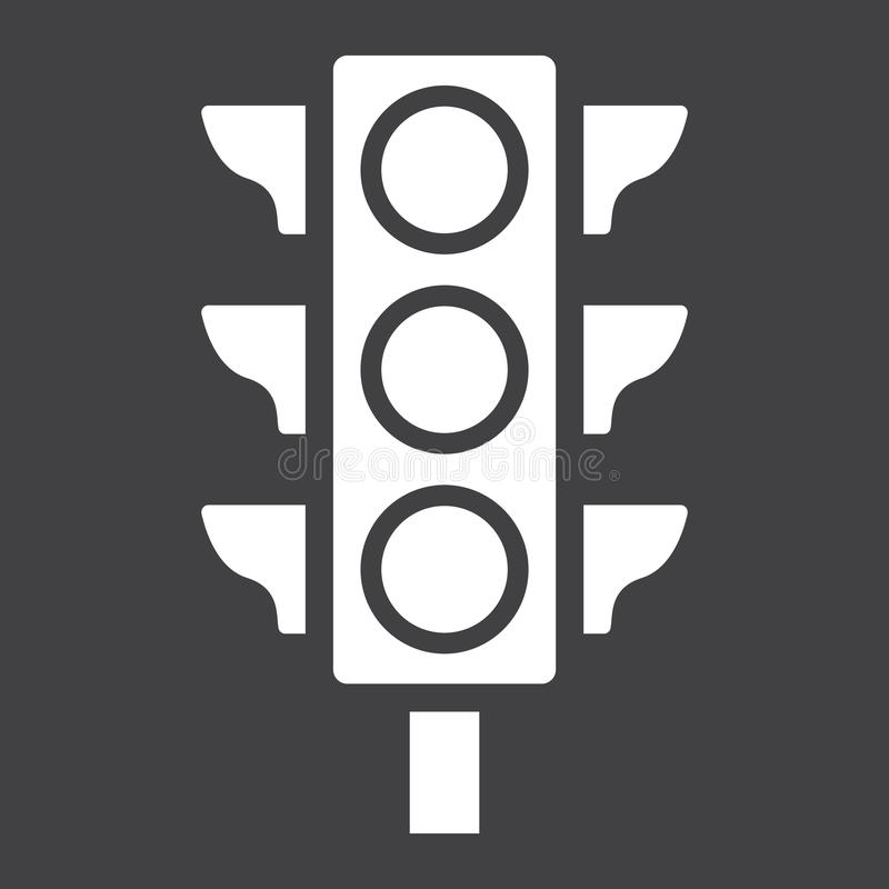 Traffic light glyph icon, stoplight and navigation royalty free illustration