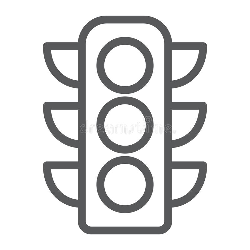 Traffic light line icon, regulation and traffic, stoplight sign, vector graphics, a linear pattern on a white background royalty free illustration