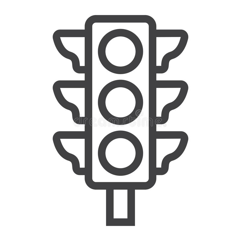 Traffic light line icon, stoplight and navigation stock illustration