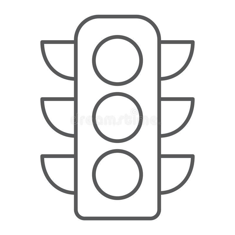 Traffic light thin line icon, regulation and traffic, stoplight sign, vector graphics, a linear pattern on a white royalty free illustration