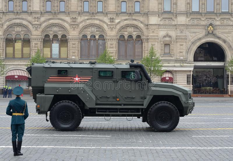 Typhoon-K multi-purpose armored car based on KAMAZ - 53949 during the parade on red square in honor of the victory Day in Moscow. MOSCOW, RUSSIA - MAY 9, 2019 stock photos